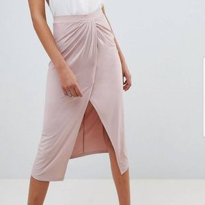 ASOS Design Slink Jersey Midi Skirt with Wrap Fron